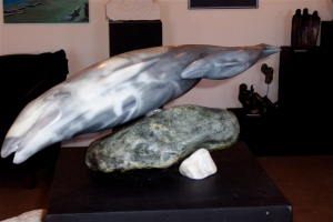 This is a sculpture of a mother Grey Whale rushing north to her feeding grounds